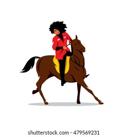 Vector North Caucasus rider Cartoon Illustration. Man in white fur hat and a red dress on a horse. Unusual Logo template isolated on a white background