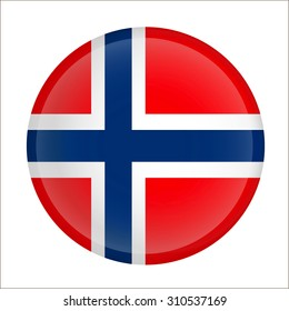 Vector - Norway Flag Glossy Button
