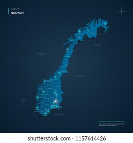 Vector Norway map illustration with blue neon lightpoints - triangle on dark blue gradient background. Administrative divisions, cities, borders, capital. Neon tech background with glow.