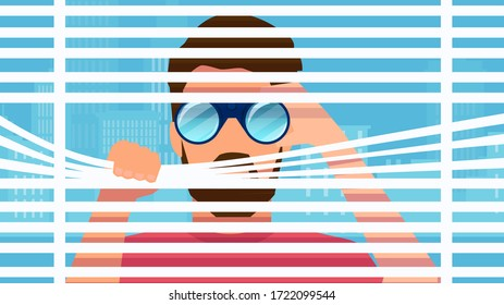 Vector of a nosy man spying secretly on neighbours from window