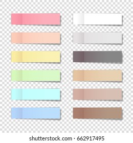 Vector note pads set - realistic illustration with shadows. Memory pads colorful rainbow collection