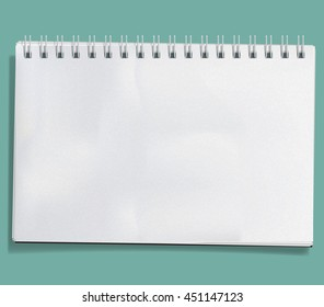 Vector Notebook isolated on white background. Blank realistic spiral notepad with crumpled paper sheets.