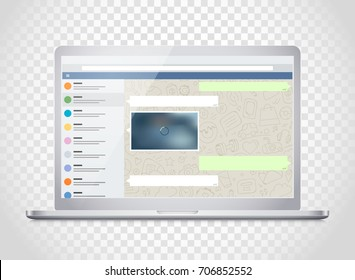 Vector notebook with messenger application on the screen. Photoreal mockup. Template for a content