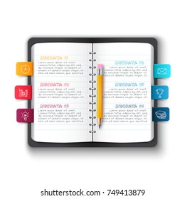 Vector notebook with pencil and bookmarks for infographic. Template for education presentation. Business concept with 6 options, parts, steps or processes.