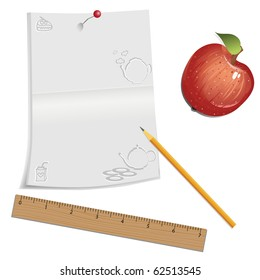 Vector notebook with pencil and ruler on white background