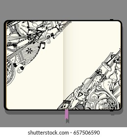 Vector Notebook with Shadows and Hand Drawn Doodles. Collection of Music Instruments. Music and Recreation Time Concept. Black and White illustration.
