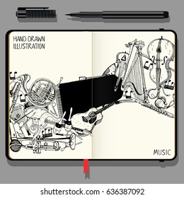 Vector Notebooks with Fine Liner Pen and Hand Drawn Doodles. Collection of Music Instruments. Music and Recreation Time Concept. Black and White illustration.