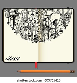 Vector Notebooks with Pencil and Hand Drawn Doodles. Collection of Music Instruments. Music and Recreation Time Concept.