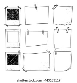 Vector notepapers, photoframes. Doodle vector illustration. Hand drawn vintage, modern set.