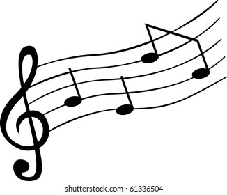 Vector of notes on music sheet