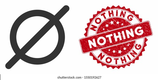 Vector nothing icon and grunge round stamp seal with Nothing text. Flat nothing icon is isolated on a white background. Nothing stamp seal uses red color and dirty surface.