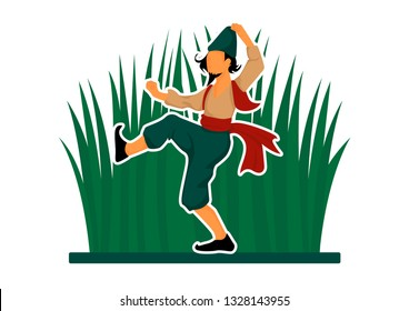 vector Novruz illustration of dancing Kosa, man in traditional clothes and semeni