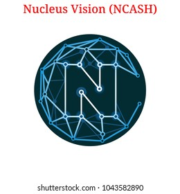 Vector Nucleus Vision (NCASH) digital cryptocurrency logo. Nucleus Vision (NCASH) icon. Vector illustration isolated on white background.
