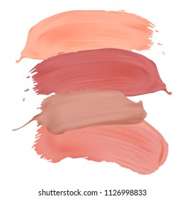 Vector nude lipstick smears isolated on white background. Modern design element for salons, beauty shops.