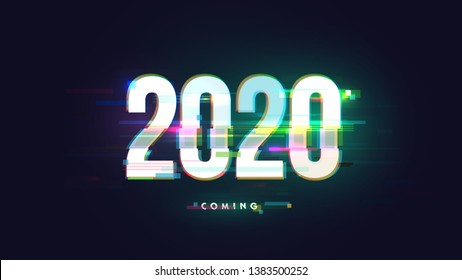 Vector number 2020 in distorted glitch style. Happy new year design concept. Minimalistic trendy illustration for branding banner, cover, poster, card.