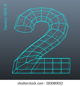 Vector number collection - 2. Stylized polygonal wireframe 3d model. EPS 8