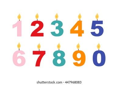 Vector numbers candles in flat style