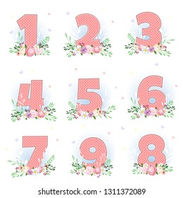 vector numbers and flowers, baby cute birthday illustration