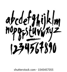 Vector numbers and lowcase letters. Hand written latin alphabet. Isolated black on white background.