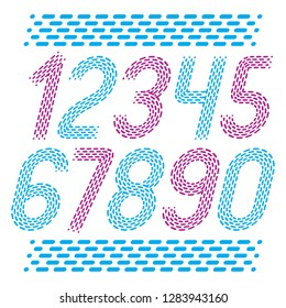Vector numbers, modern numerals set. Rounded bold italic retro numeration from 0 to 9 can be used for logo creation, press. Created using dashes, parallel lines.