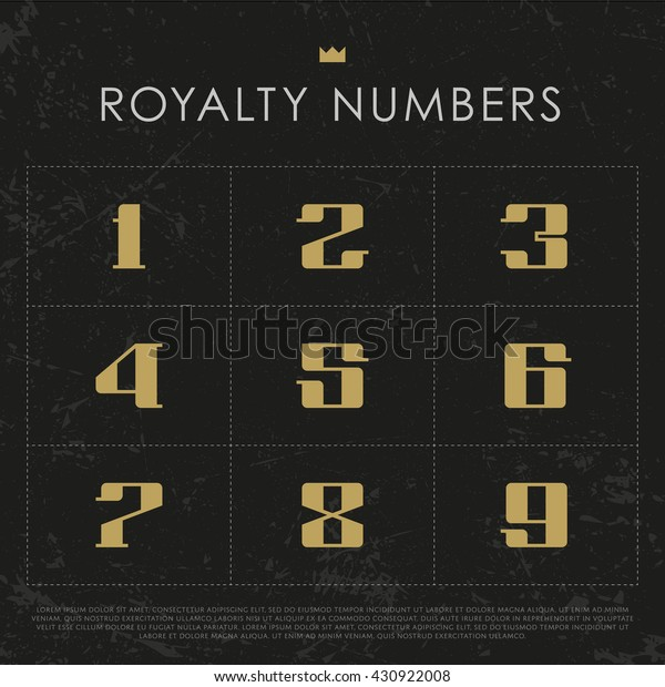 Vector Numbers. Royalty Gold Signs. Crown icon eps