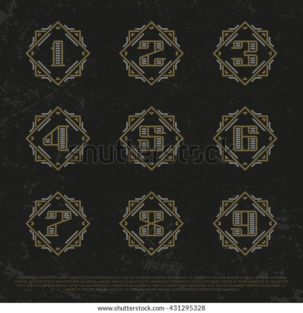 Vector Numbers. Royalty Gold Signs. Monogram eps Symbols set