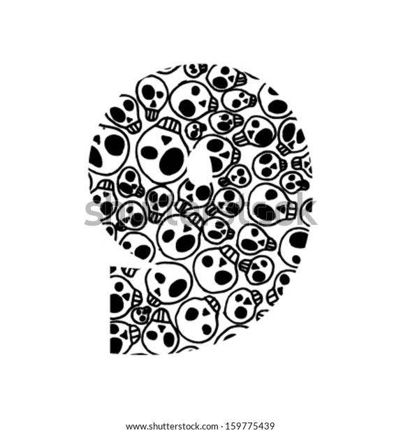 Vector Numbers Scary Skull Pattern Number Stock Vector (Royalty Free