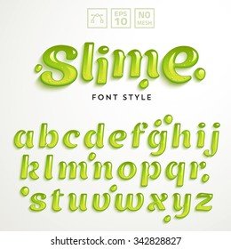 Vector numbers and symbols made of green slime. Latin alphabet from A to Z. Glossy typeface.