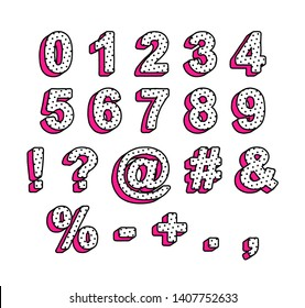 Vector numbers and symbols in the style of lol doll surprise. Ready design for the design of the invitation.