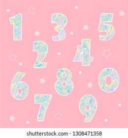 vector numbers with texture, baby cute illustration for birthday party