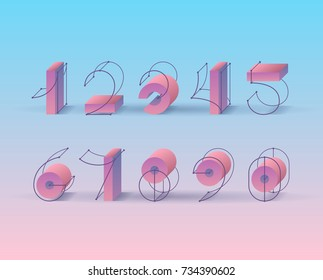 Vector numerals. Set of creative 3d grid and geometrical shapes figures for trendy design.