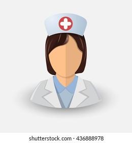 Vector nurse girl avatar. icon. Profession medicine. Eps 10.