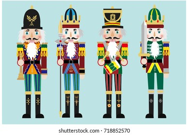vector nutcracker soldier flat image illustration design set  Classic Christmas cartoon style four gift wooden puppet army decoration  toy