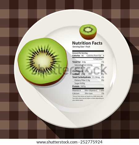 Vector of nutrition facts Kiwi