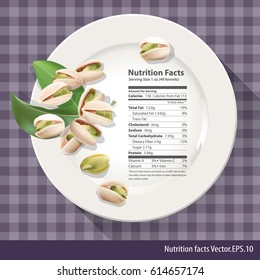 Vector of Nutrition facts one oz of  pistachio on white plate.