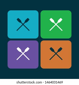 vector oars icon set collection