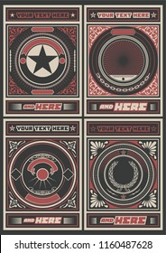Vector Obey Style Placard Background Set. Vintage Decorative Poster Backdrops