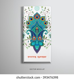 Vector object. Chocolate bar packaging. Oriental pattern. Paisley flowers with peacock feathers. Place for your text.