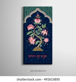 Vector object. Chocolate bar packaging. Tree of Life in indian decorative frame. Motives of the paintings of ancient Indian fabrics. Tree of Life collection. Dark backdrop. Place for your text.
