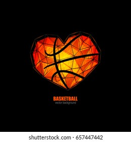 Vector object in the shape of a heart for basketball, love. Grunge, polygon style. Design element for web banner; poster; print on T-shirt.