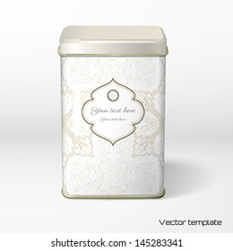 Vector object. Square tin packaging. Tea, coffee, dry products. Vintage floral pattern.  Figured frame for your text.