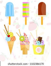 Vector objects collection of Ice cream
