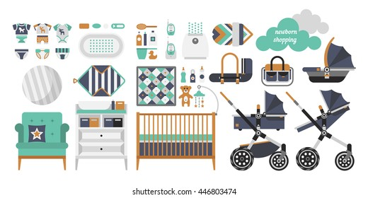 Vector objects for a newborn. Products for newborns. Cribs, baby stroller, children clothing, toys and other baby stuff for a newborn. Vector baby stuff set in flat style.