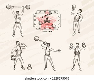 Vector objects set. Strongmen with mustache . Retro circus performance. Pen style drawing.