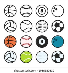 Vector Objects Spherical soccer balls for various sports events. Isolated on white background.