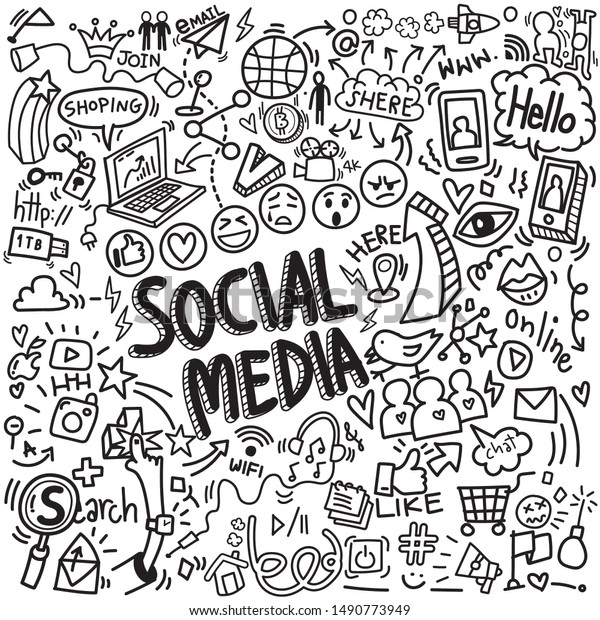 vector of objects and symbols on social media element, doodles sketch illustration
