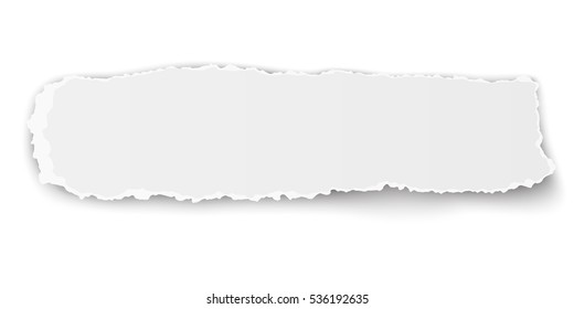 Vector oblong ragged piece of paper isolated on white background.