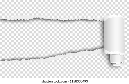 Vector oblong torn hole in transparent sheet of paper with soft shadow and paper curl. Template paper design.