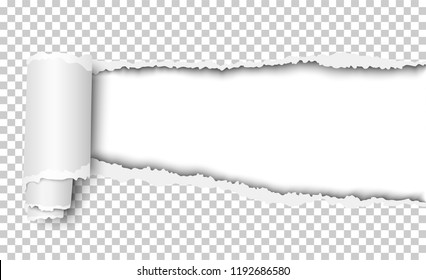 Vector oblong torn hole in transparent sheet of paper with shadow and paper curl. White resulting background. Paper mock up.
