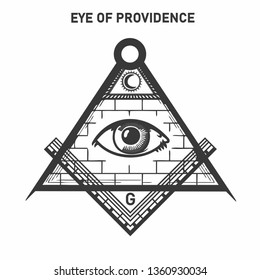 Vector occult icon Freemason sign all-seeing eye symbol. The Masonic Mark is the eye of God in a triangle of compasses and a ruler. Illustration of the all-seeing eye of god in flat minimalism style.